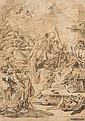 Attribué à Giovanni Battista PITTONI (Venise 1687 - 1767) Saint Nicolas de Bari soignant un malade Crayon noir et sanguine 39,5 x 28...