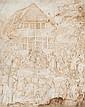 École flamande du XVIIème siècle  L'adoration des Mages Plume et encre brune sur vélin 21,5 x 17 cm Taches, mouillures, petits trous...