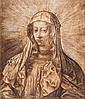 École du Nord du XVIème siècle, entourage de Jan WIERIX (Anvers 1549 - Bruxelles 1620) La Vierge Marie en buste Plume et encre brune...