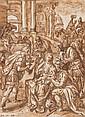 Martin de VOS (Anvers 1532 - 1603) L'adoration des Mages Plume et encre brune, lavis brun  17 x 13 cm Signé et daté en bas à gauche ...
