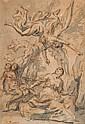 Joseph François PARROCEL (Avignon 1704 - Paris 1781) Agar et l'ange Plume et encre brune, lavis gris 22 x 15 cm Signé en bas à gauch...