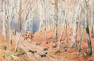 Baron Karl REILLE (1886 - 1974) Scène de chasse à courre Aquarelle gouachée 31 x 47 cm
