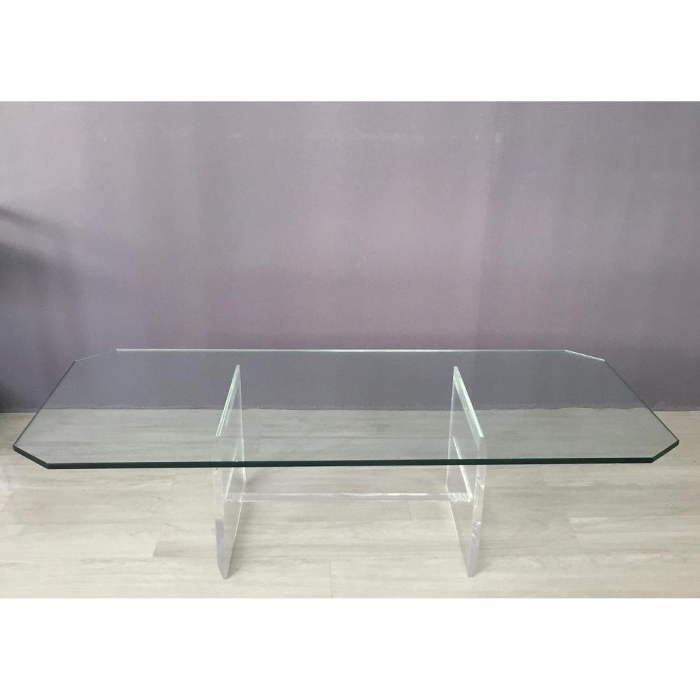 Ann es 90 table basse plateau rectangulaire en verre et pi for Grande table basse rectangulaire