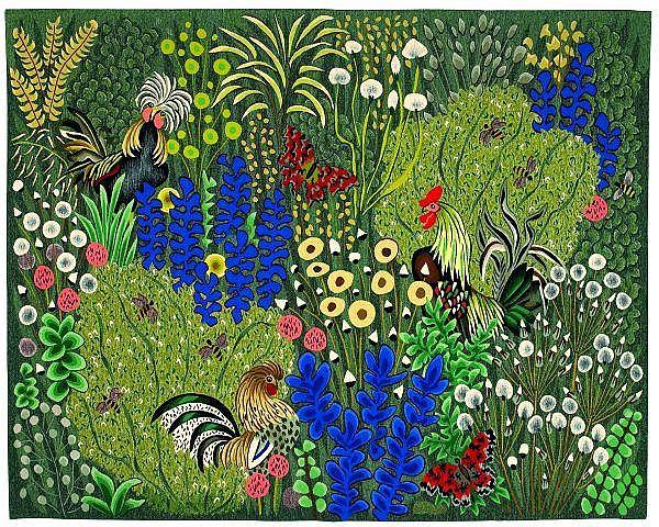 Frère DOM ROBERT (1907-1997, né Guy de Chaunac-Lanzac) « Juin » Tapisserie basse lisse d'Aubusson. Tissage très coloré sur le thème de
