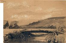ALBERT LEBOURG (1849-1928) Pont sur la Risle Fusain sur papier Rehauts de craie Signée en haut à gauche 29 x 45cm