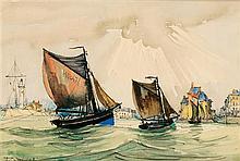 FRANK-WILL (1900-1951) Voiliers dans le port de Honfleur Aquarelle et fusain sur papier Signée en bas à gauche 19 x 28cm