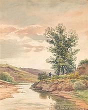 Henri-Joseph HARPIGNIES (1819-1916) Le pêcheur, 1875 Aquarelle sur papier Signée et datée en bas à droite 28 x 22,5cm