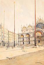 Giuseppe Cherubini (1867-1960) Place Saint Marc Aquarelle sur papier Signée en bas à droite 48,5 x 66,5cm