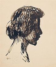 Théophile Alexandre Steinlen (1859-1923) Portrait de femme de profil Encre sur papier Signée des initiales en bas à gauche 13 x 11cm