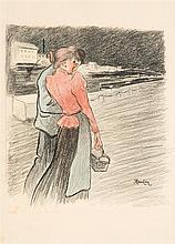 Théophile Alexandre Steinlen (1859-1923) Couple en ville Fusain et crayon de couleur sur papier Signé en bas à droite 39 x 30cm