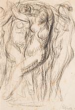 Adolphe Peterelle (1874-1947) Nus féminins dansant Fusain sur papier Signé en bas à droite 27 x 19cm