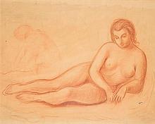 Demetrios Galanis (1880-1966) Nu allongé Sanguine sur papier Porte le cachet de la signature en bas à droite 69 x 86cm