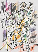 GEN PAUL (Eugène Paul dit) (1895-1975) Le contrebassiste Pastel sur papier Signé en haut à gauche 41 x 30cm