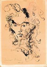 LEONOR FINI (1908-1996) Visage Aurélia, 1945 Aquarelle et encre sur papier Signée et datée en bas à gauche 34 x 24cm