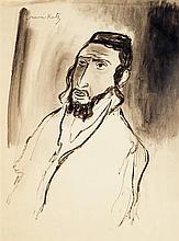 MANE KATZ (1894-1962) Portrait d'homme Encre et lavis d'encre sur papier Signée en haut à gauche 45 x 35cm