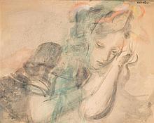 Raymond Kanelba (1897-1960) Maria Aquarelle sur papier Signée en haut à droite 65 x 77cm