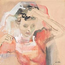 Raymond Kanelba (1897-1960) La dame en rouge Aquarelle sur papier Signée en haut à droite 62 x 62cm