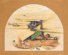 Georges Lepape (1887-1971) Les vendanges Gouache sur papier 91 x 112cm