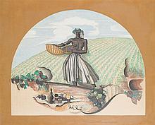 Georges Lepape (1887-1971) Les moissons Gouache sur papier 91 x 112cm
