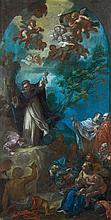 Attribué à Giovanni ODAZZI (1663- 1731) La prédication de saint Vincent Ferrier dans une cintre peint dans la partie supérieure Toil...