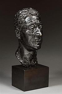 """Robert WLERICK (1882-1944) Portrait sculpté d'Adolphe Pétérelle Épreuve en bronze à patine noire Cachet de fondeur """"C Valsuani cire..."""