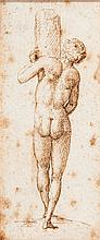 Marcantonio RAIMONDI (Argius 1480 - Bologne 1527-34) Homme de dos à la colonne Plume et encre brune 10 x 4,5cm