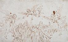 école italienne du XVIIe siècle Les anges sauvant les âmes du Purgatoire Plume et encre brune 24,5 x 40cm Pliures et taches