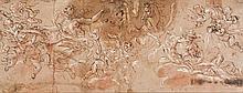 école allemande de la fin du XVIIe siècle Projet de plafond avec Aurore et le char d'Apollon Plume et encre brune, lavis de sanguine...