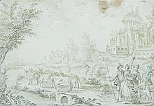 École flamande du XVIIIe siècle Bergers d'Arcadie Crayon noir et brun 14 x 20cm Signé indistinctement en haut à gauche