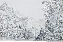 École du nord vers 1700 Paysage montagneux Plume et encre noire, lavis gris sur traits de crayon noir 19,5 x 29,5cm Annoté: