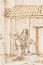 École Vénitienne du XVIe siècle Couple en prière Plume et encre brune sur traits de crayon noir 27 x 18cm Numéroté