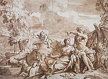 Entourage de Carlo CIGNANI (Bologne 1628-Forlì 1719) Bacchus et Ariane Pinceau d'encre brune sur traits de crayon brun 42 x 57cm Au ...