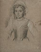 Suiveur de Ottavio LEONI Portrait de jeune femme en buste Crayon noir et rehauts de craie blanche 28 x 21,5cm Petits trous, pliures