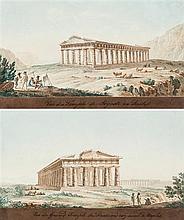École italienne du XVIIIe siècle Vue du temple de Paestum et vue du temple de Ségeste: une paire Aquarelle sur traits gravés 11,5 x ...