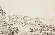 Antonio SENAPE (Rome 1790 - Naples 1842) Vue animée de la baie de Naples Plume et encre brune et plume et encre noire sur traits de ...