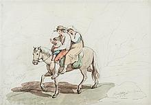 Bartolomeo PINELLI (Rome 1781-1835) Famille italienne sur son cheval Aquarelle sur traits de crayon noir Signé, daté et situé en bas...