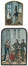 SPANISH FORGER (actif au XIXesiècle) Deux enluminures sur un même montage 8 x 5,5cm et 11 x 8cm Epidermures Drawings