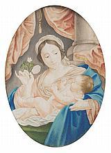 École française de la fin du XVIIe Vierge à l'enfant Gouache sur parchemin 12,5 x 9cm Gondolée On joint un dessin circulaire représe...