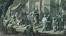 François VERDIER (Paris 1651 – 1730) Hercule et le sanglier d'Erymanthe Crayon noir et rehauts de craie blanche sur papier anciennem...