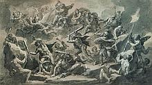 François VERDIER (Paris 1651 – 1730) La chute des Titans Crayon noir et rehauts de craie blanche sur papier anciennement bleu vert 2...