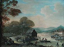 Attribué à Henri Joseph van BLARENBERGHE (Lille 1741-Lille 1826) Paysage fluvial animé Gouache 15 x 21cm Restaurations
