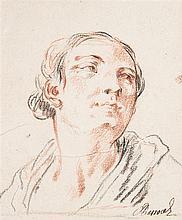 Charles PARROCEL (Paris 1688-1752) Portrait de femme Crayon noir et sanguine 15,5 x 10,5cm Annoté en bas à droite: