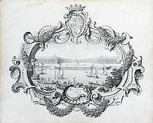 MAROLLES (mort vers 1751) Perspective de la place royale de Bordeaux Plume et encre noire sur vélin 38 x 46,5cm Annoté sur le cartou...