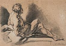 École de François BOUCHER (Paris 1703-1770) Académie d'homme Trois crayons 32,5 x 46,5cm Annoté en bas à droite