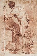École de François BOUCHER (Paris 1703-1770) Académie d'homme Sanguine sur traits de crayon noir 50 x 33cm Annoté en bas à droite: