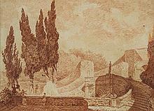 École Française du XIXe Siècle Les escaliers de la Villa d'Este, d'après Fragonard Sanguine 23 x 31,5cm