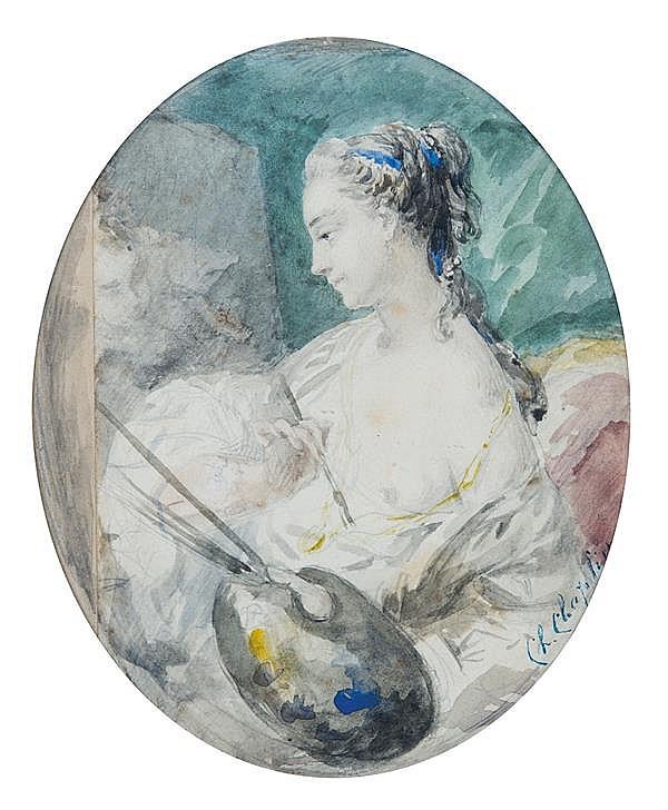 Charles CHAPLIN (Andelys 1825 – Paris 1891) Portrait de femme peintre du XVIIIe siècle Aquarelle sur traits de crayon noir 14,5 x 12...