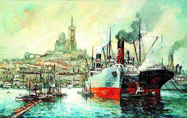 FRANK-WILL (1900-1951) BATEAUX A QUAI Huile sur toile Signée en bas à gauche 60 x 92 cm