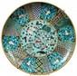 IMPORTANT PLAT CIRCULAIRE en bronze doré et émaux cloisonnés polychromes sur fond bleu, à décor, en médaillon central, de cinq poiss...