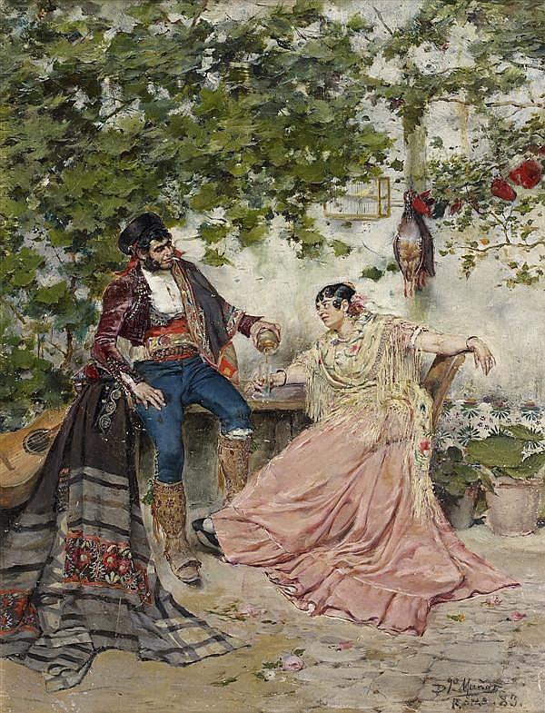 Domingo MUNOZ y CUESTA (Madrid 1850 - 1912 ou 1935) Dans le patio Panneau 33 x 25 cm Signé, localisé et daté en bas à droite : Dgo M...